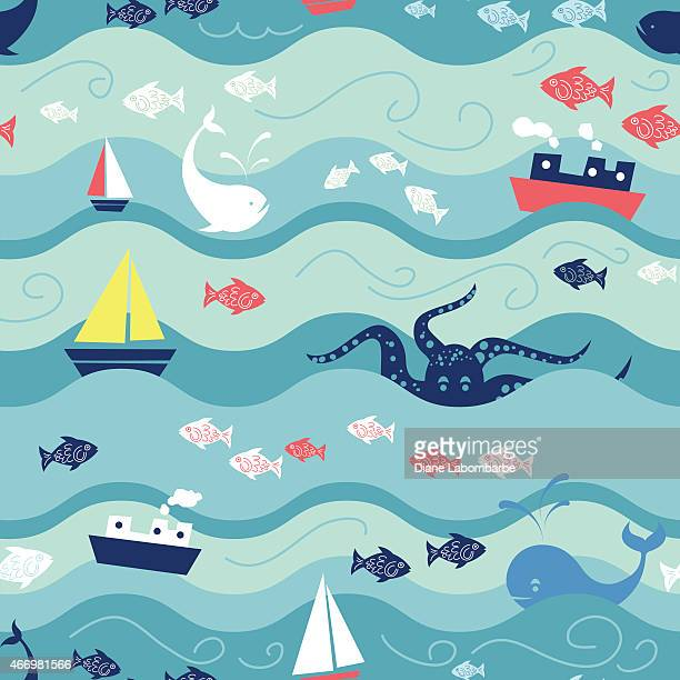 childrens ocean life seamless repeating pattern - childhood stock illustrations
