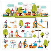 Childrens Playground drawn in a flat style
