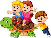 children's riding giant turtle