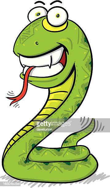 childrens series v -snake- - sticking out tongue stock illustrations, clip art, cartoons, & icons