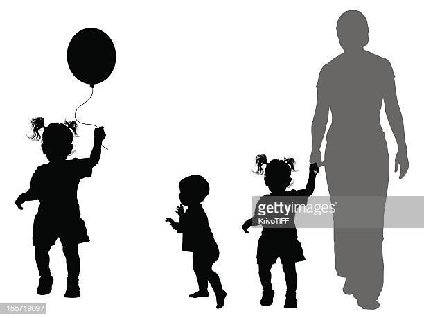 children's silhouettes - toddler stock illustrations, clip art, cartoons, & icons