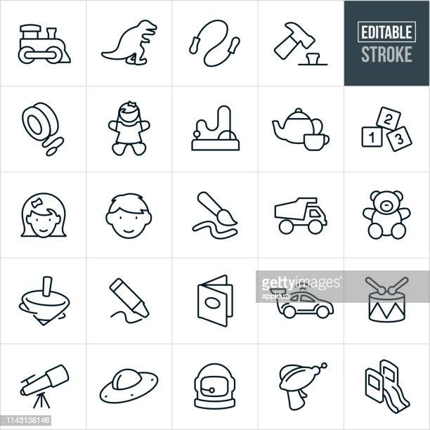 children's toys thin line icons - editable stroke - childhood stock illustrations