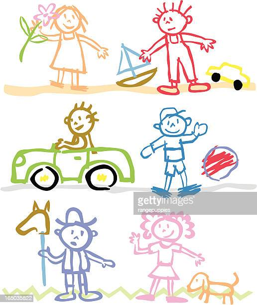 ilustrações de stock, clip art, desenhos animados e ícones de crianças com lápis de cera - nicho
