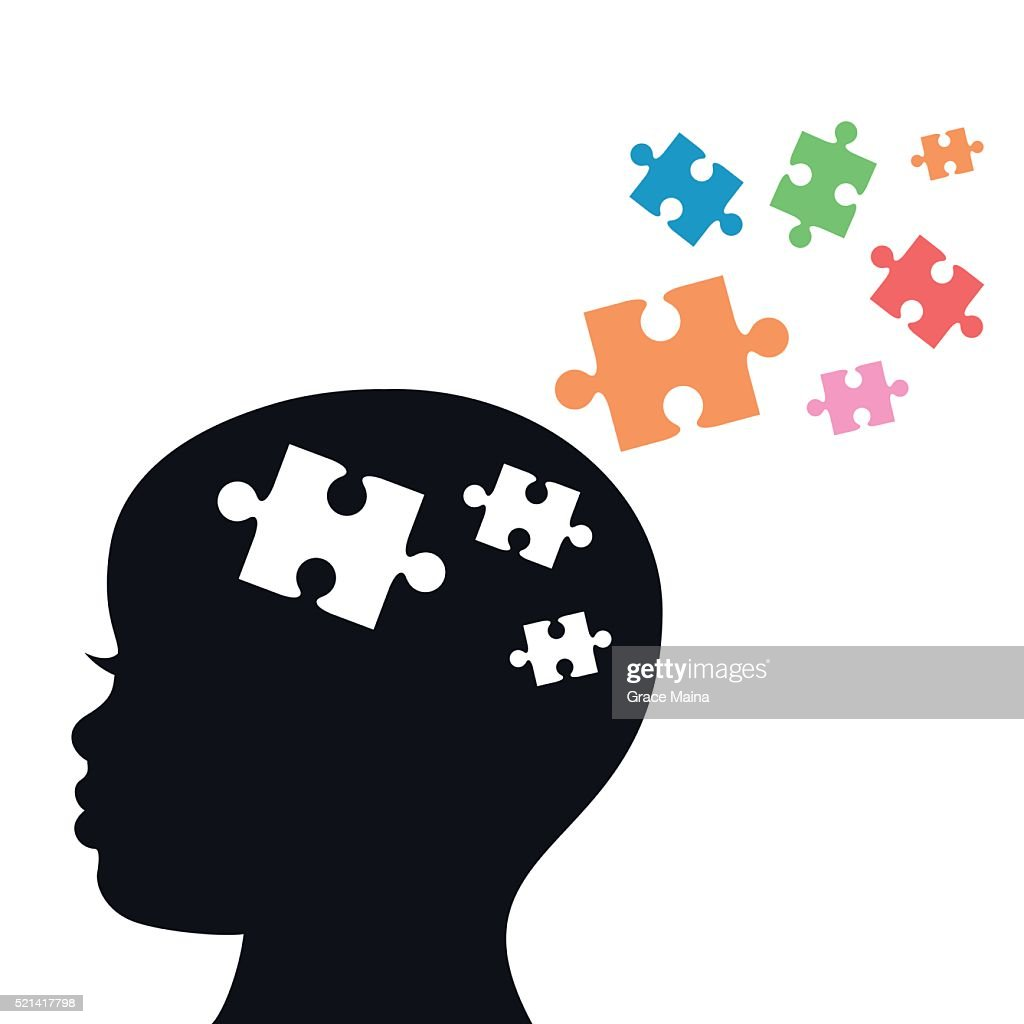 Child's Head With Jigsaw Puzzle Pieces For Autism- VECTOR