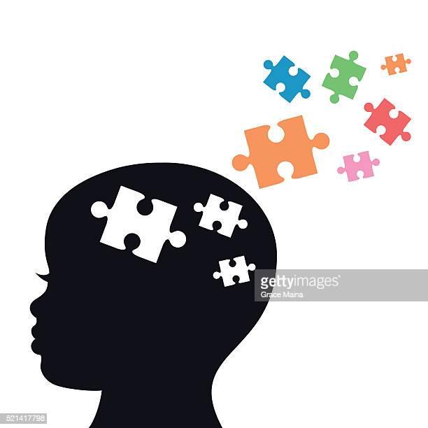 ilustraciones, imágenes clip art, dibujos animados e iconos de stock de de niño con rompecabezas de piezas para autismo- vector de - autismo