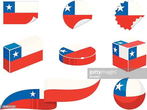 illustrazioni stock, clip art, cartoni animati e icone di tendenza di cile elementi di design - bandiera del cile