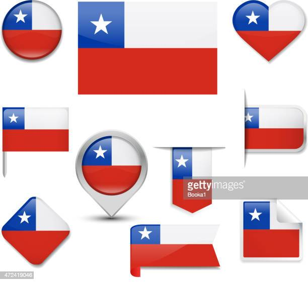 illustrazioni stock, clip art, cartoni animati e icone di tendenza di collezione di bandiera del cile - bandiera del cile