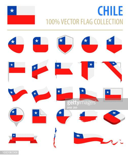 illustrazioni stock, clip art, cartoni animati e icone di tendenza di cile - flag icon flat vector set - bandiera del cile