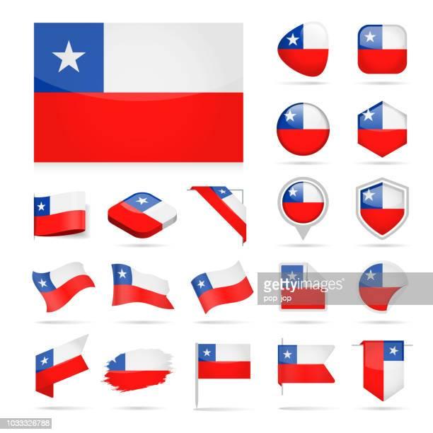 illustrazioni stock, clip art, cartoni animati e icone di tendenza di cile - flag icon glossy vector set - bandiera del cile