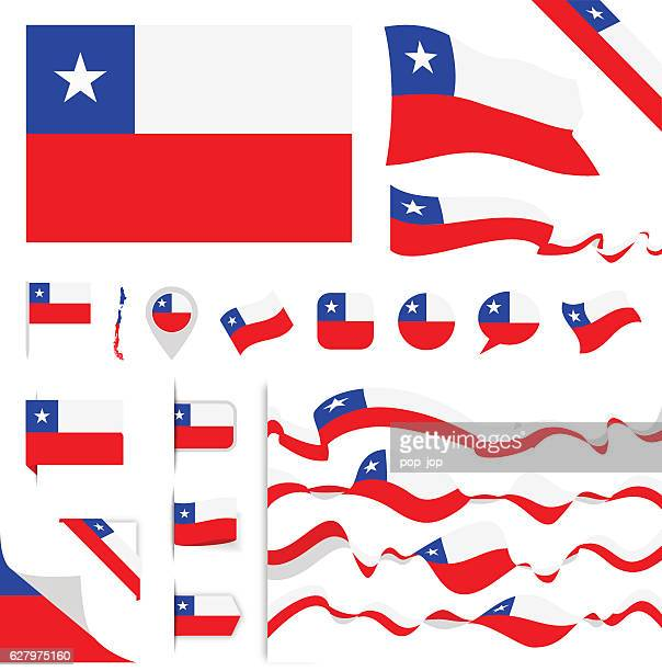 chile flag set - chile stock illustrations