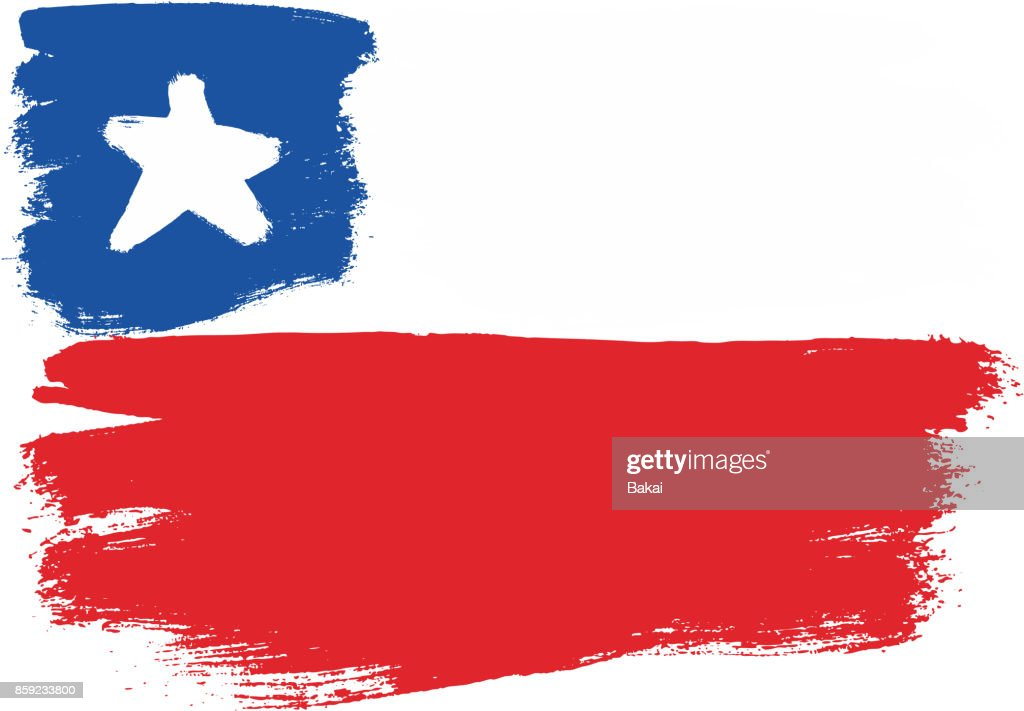 Chile Flag Vector Hand Painted with Rounded Brush