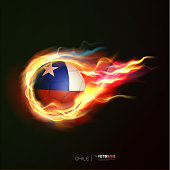 Chile flag with flying soccer ball on fire, vector illustration