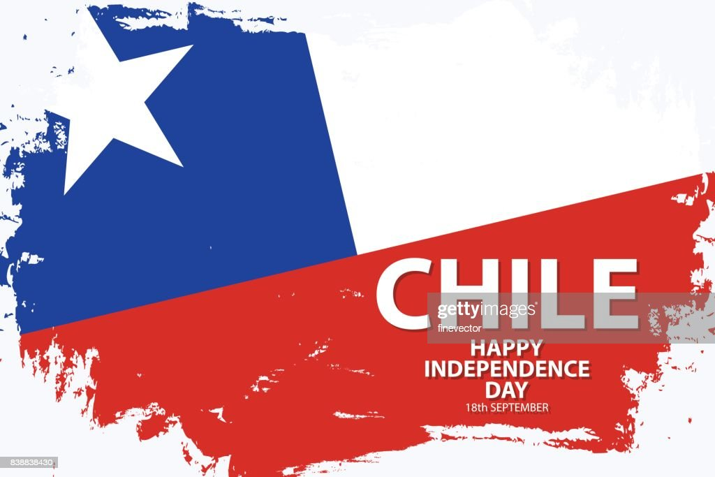 Chile Happy Independence Day holiday background with chilean national flag brush stroke.
