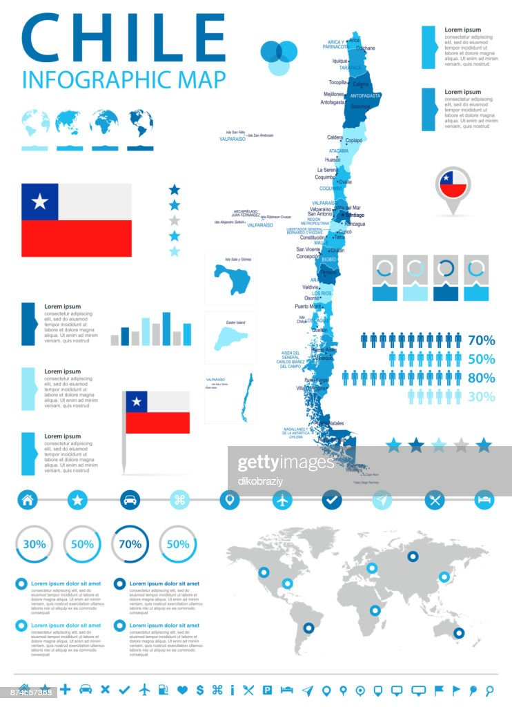 Chile - infographic map and flag - Detailed Vector Illustration