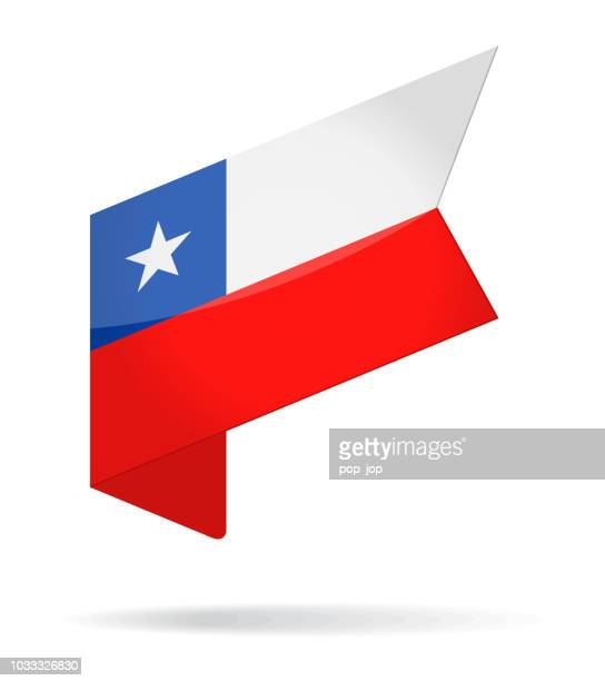 Chile - Isometric Label Flag Vector Glossy Icon