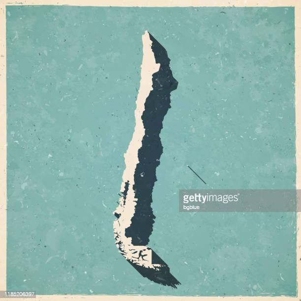 ilustrações, clipart, desenhos animados e ícones de mapa do chile em estilo vintage retrô - papel texturizado antigo - chile