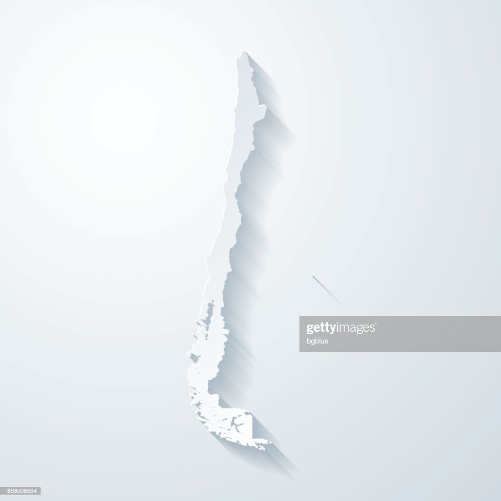 Chile map with paper cut effect on blank background