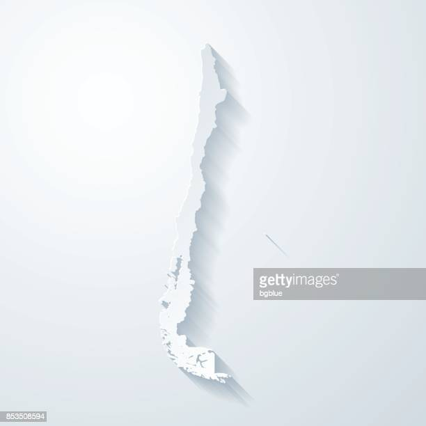 chile map with paper cut effect on blank background - chile stock illustrations