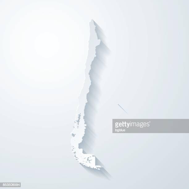 紙でチリ地図カット空白の背景の効果 - チリ共和国点のイラスト素材/クリップアート素材/マンガ素材/アイコン素材