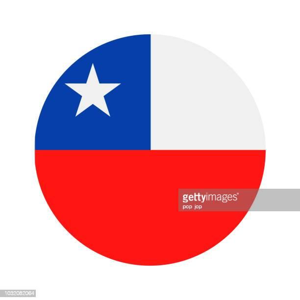 illustrazioni stock, clip art, cartoni animati e icone di tendenza di cile - icona piatta vettore bandiera rotonda - bandiera del cile