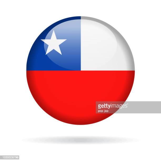 illustrazioni stock, clip art, cartoni animati e icone di tendenza di cile - icona lucida vettore bandiera rotonda - bandiera del cile