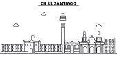 Chile, Santiago architecture line skyline illustration. Linear vector cityscape with famous landmarks, city sights, design icons. Landscape wtih editable strokes