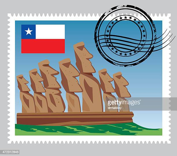 chile stamps - easter island stock illustrations, clip art, cartoons, & icons