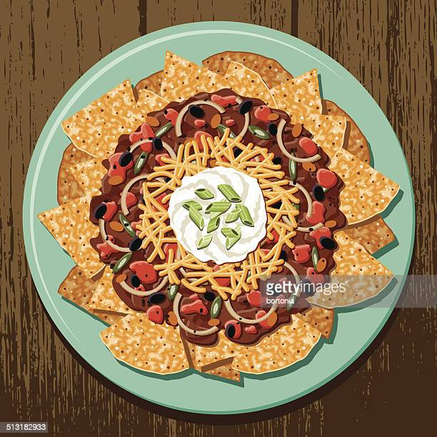 chili cheese nachos - nachos stock illustrations
