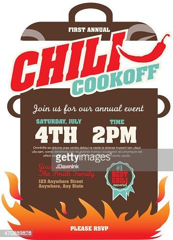 Chili Cookoff Event Invitation Design Template Vector Art ...