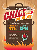 Chili cookoff invitation design template on wooden background