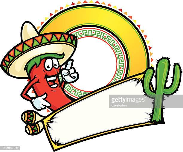 chili pepper banner - sombrero stock illustrations