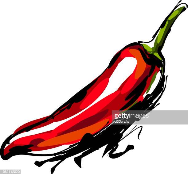 chili pepper drawing - red chili pepper stock illustrations, clip art, cartoons, & icons