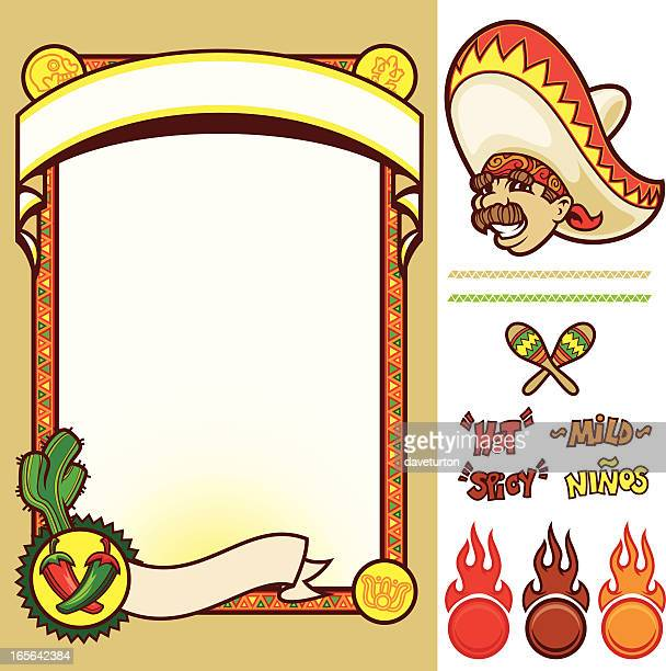 chili pepper menu pack - mexican food stock illustrations, clip art, cartoons, & icons