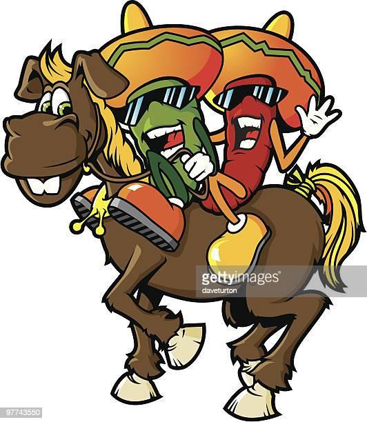 ilustraciones, imágenes clip art, dibujos animados e iconos de stock de chili peppers por un burro - mula