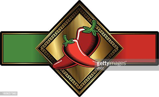 chilli glam label - red chili pepper stock illustrations, clip art, cartoons, & icons