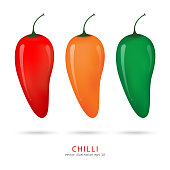 Chilli pepper vector set isolated on white background.