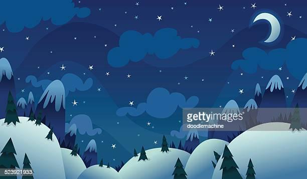 kalte winter nacht - himmel stock-grafiken, -clipart, -cartoons und -symbole