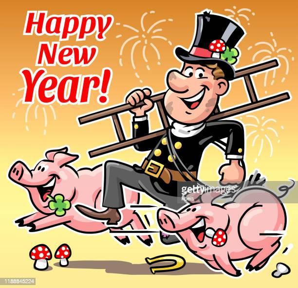 schornsteinfeger und schweine - neujahrskarte - schornsteinfeger stock-grafiken, -clipart, -cartoons und -symbole