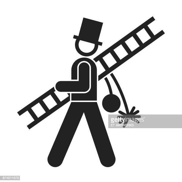 schornsteinfeger-symbol - schornsteinfeger stock-grafiken, -clipart, -cartoons und -symbole