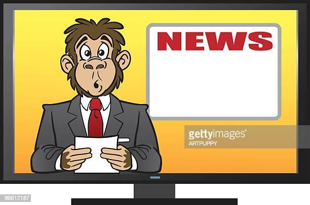 chimp reading the news - chimpanzee stock illustrations, clip art, cartoons, & icons