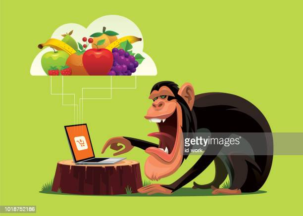 schimpanse online-shopping per laptop-computer - chimpanzee stock-grafiken, -clipart, -cartoons und -symbole