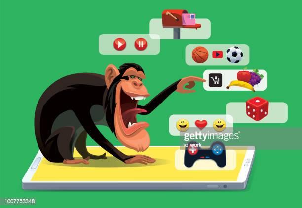 illustrations, cliparts, dessins animés et icônes de chimpanzé achats en ligne via smartphone - chat humour