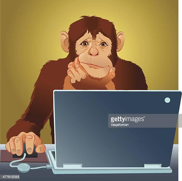 schimpansen-gattung mit laptop - chimpanzee stock-grafiken, -clipart, -cartoons und -symbole
