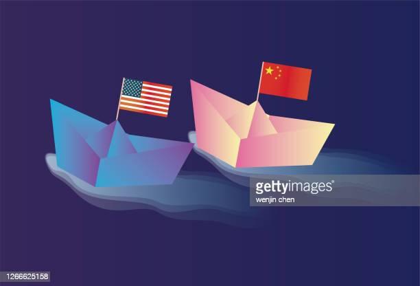 中国と米国が競争している、貿易戦争 - 対決点のイラスト素材/クリップアート素材/マンガ素材/アイコン素材