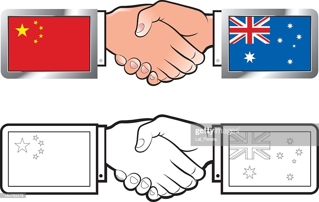 china & australia flags-hand shake