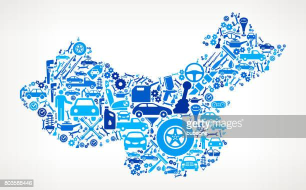 china auto repair cars and automotive icons background - car salesperson stock illustrations, clip art, cartoons, & icons