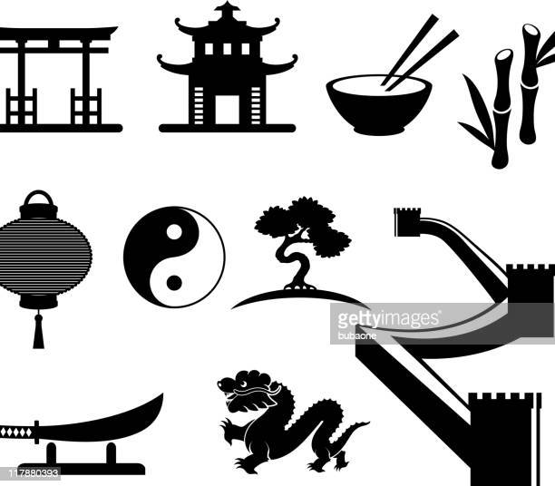 china black and white royalty free vector icon set - chopsticks stock illustrations, clip art, cartoons, & icons