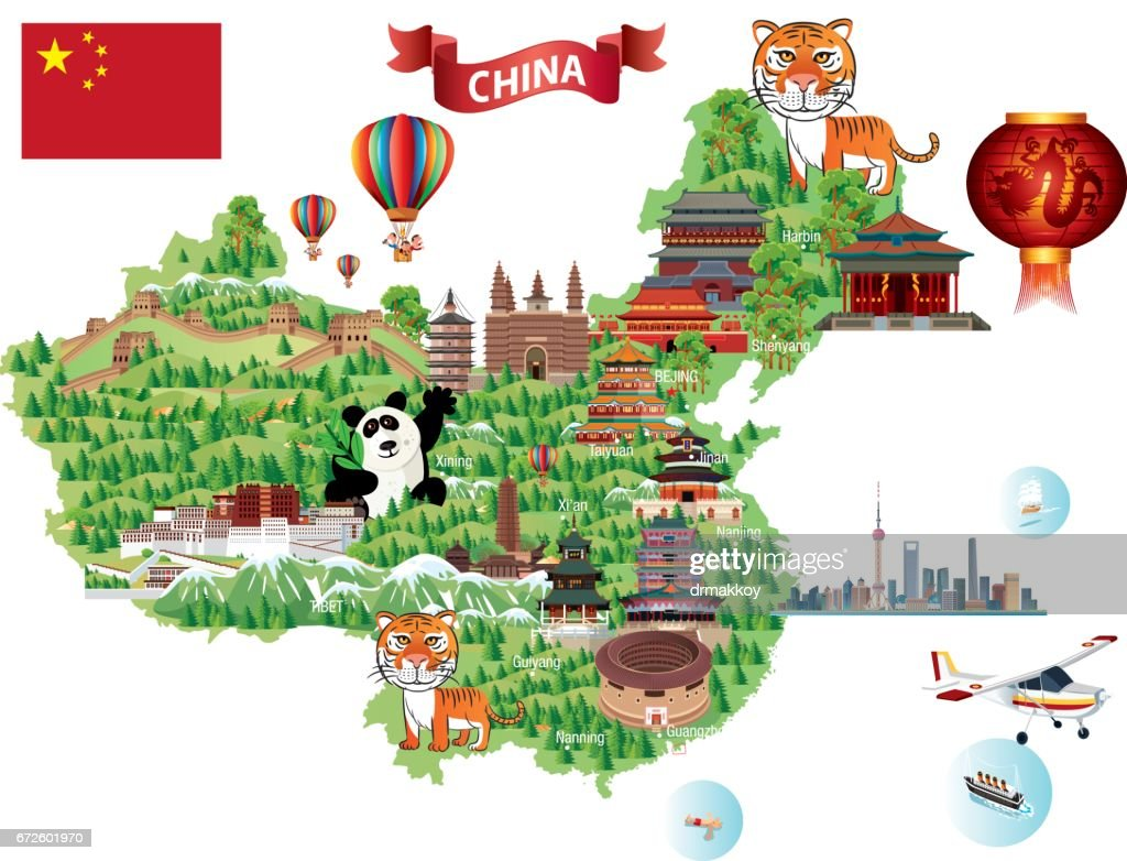 China Cartoon Map Vector Art Getty Images