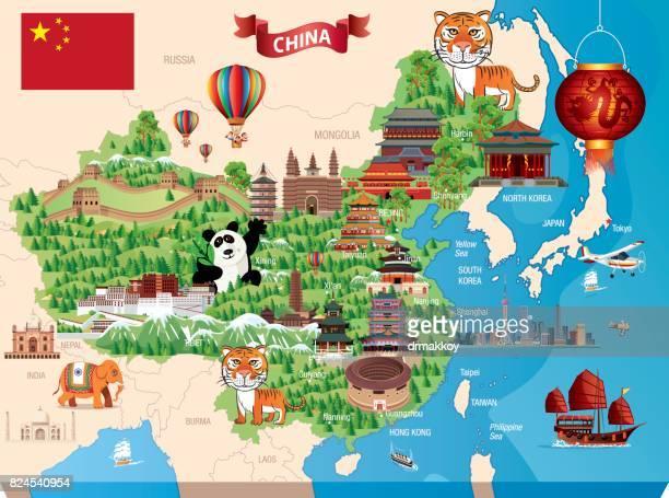 china cartoon map - pagoda stock illustrations, clip art, cartoons, & icons