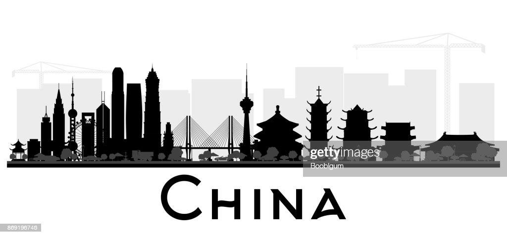 China City skyline black and white silhouette.